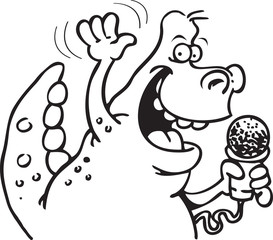 Black and white illustration of a dinosaur holding a microphone.