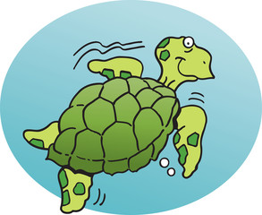 Cartoon illustration of a  sea turtle.