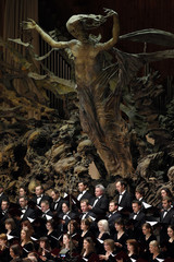 Members of Sinodal Chorus of Moskow perform during a concert in honor of Pope Benedict XVI in Paul VI hall at the Vatican