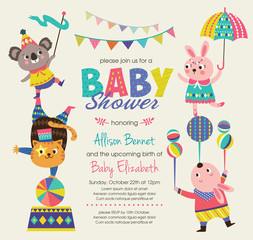 Baby Shower invitation card with circus theme