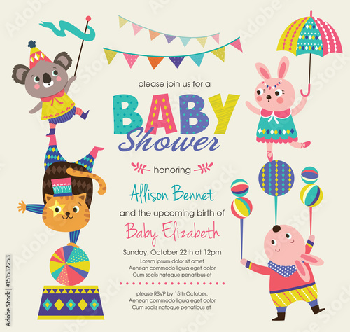 Baby Shower Invitation Card With Circus Theme Stock Image And