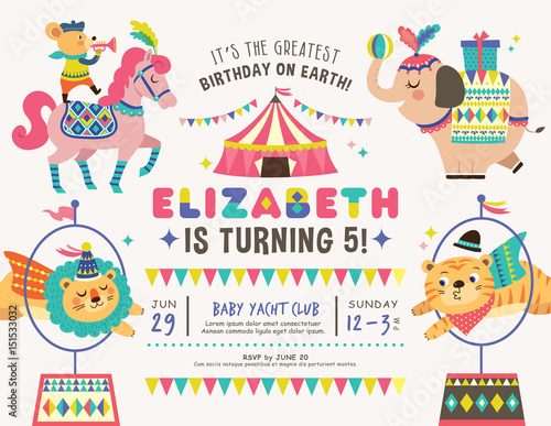 kids birthday party invitation card with circus theme stock image