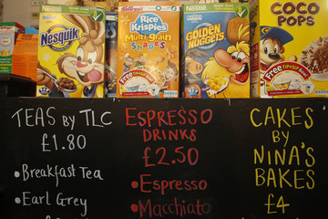 "Boxes of cereal and a menu board are seen at the ""Cereal Killer Cafe"" in east London"