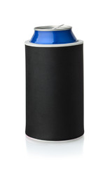 Front view of  black  neoprene can koozie holder
