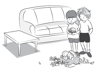 Two boy play ball in living room make jar broken - Black and white cartoon vector