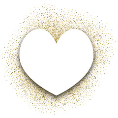 Gold festive frame. Background in the form of a heart. Back from