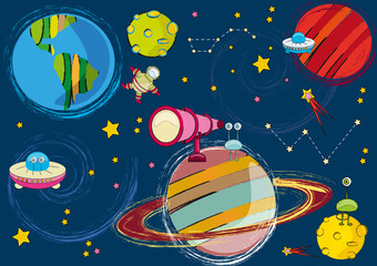 drawing space, planet, moon, spaceman