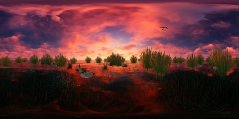 3d rendering of a lake with flying and swimming ducks