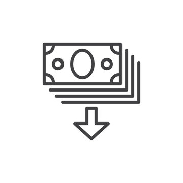 Cash money and arrow down outline icon, line vector sign, linear style pictogram isolated on white. Symbol, logo illustration. Editable stroke. Pixel perfect