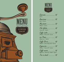template vector menu for a coffee shop with a picture coffee grinder and a price list in retro style