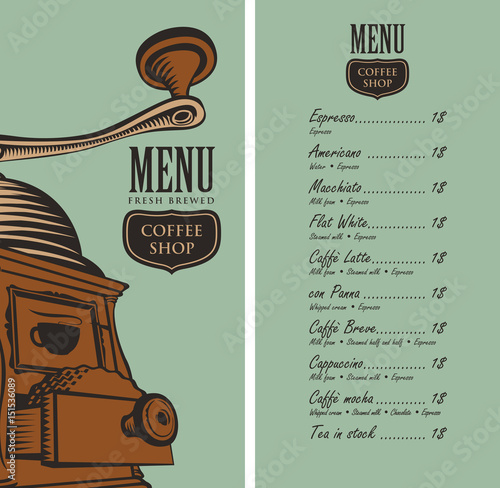 Template vector menu for a coffee shop with a picture for Coffee price list template