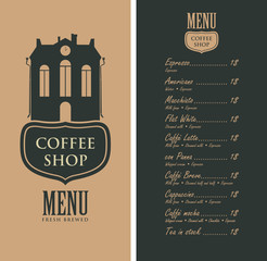 template vector menu for a coffee shop with an old house, street sign and a price list in retro style