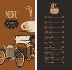 template vector menu for a coffee shop with old car, cup of coffee on roof and a price list in retro style