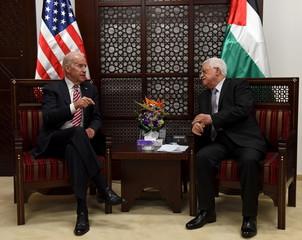 U.S. Vice-President Joe Biden meets with Palestinian President Mahmoud Abbas in the West Bank city of Ramallah
