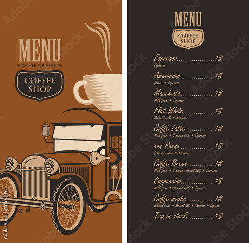 coffee price list template - template vector menu for a coffee shop with old car cup