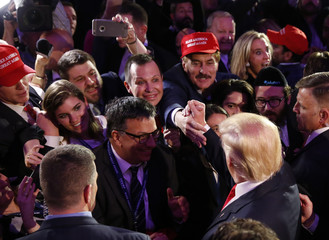 U.S. President-elect Donald Trump greets supporters at his election night rally in Manhattan