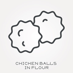 Line icon chicken balls in flour