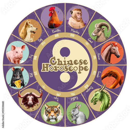 """""""Set Of Chinese Horoscope Characters Isolated. Rat, Ox"""