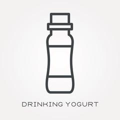 Line icon drinking yogurt