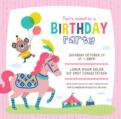 Birthday invitation card with cute little koala and horse