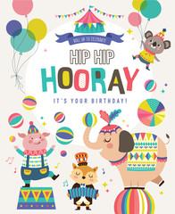 Birthday card with circus cartoon animals