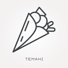 Line icon temaki