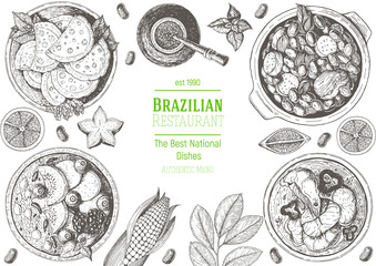 Brazilian cuisine top view frame. Brazilian food menu design with feijoada, acai, meat pastry, moqueca de peixe and mate tea. Vintage hand drawn sketch vector illustration.