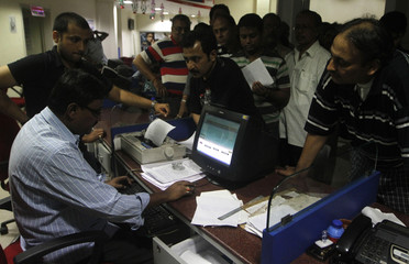 Telegram senders crowd inside the Central Telegraph Office in Kolkat