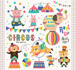 Set of circus animals