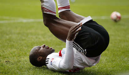 Fulham's Sone Aluko reacts after a missed chance