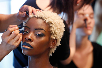 A model is prepared backstage before a presentation of Indian designer Archana Kochhar's Spring/Summer 2017 collection during New York Fashion Week in the Manhattan borough of New York