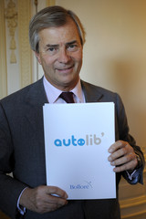 Vincent Bollore, CEO of investment group Bollore, speaks during a news conference to present his Paris Autolib' electric car plan in Paris