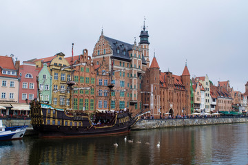 Traditional buildings of the Gdansk Main Town along the waterfront of the Motlawa River, Poland