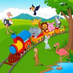 Cartoon train on railroad with wild animals