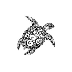 Sea turtle tattoo, Vector illustration