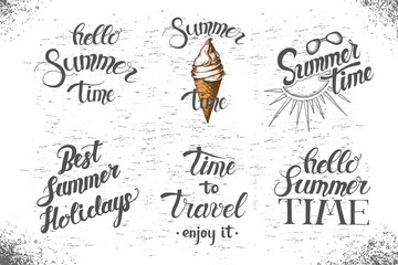 Summer poster with hand written quote 'Escape to Paradise. Enjoy it'. Sketch, lettering, hand drawn summer objects.