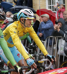 Asatana team rider Nibali of Italy wearing the leader's yellow jersey, competes in the 155.5 km 5th stage of the Tour de France