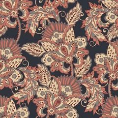 Elegance seamless pattern with ethnic flowers