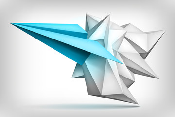 Volume geometric shape, blue paper airplane inside, 3d crystal, creative low polygons object, vector design form