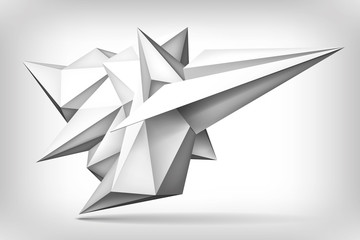 Volume geometric shape, paper airplane, 3d crystal, creative low polygons object, vector design form