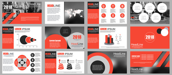 Red and black elements for infographics