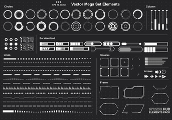 set of black and white infographic elements