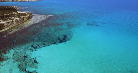 Landscape of a transparent clear blue Mediterranean Sea. The island of Cyprus. Resort. blue lagoon
