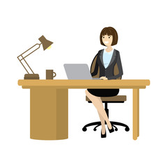 Workplace. Businessman Working at the computer
