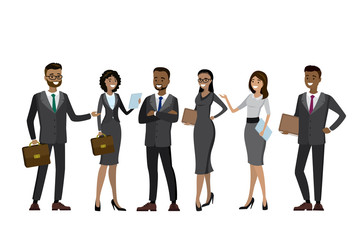 Set Multicultural business people