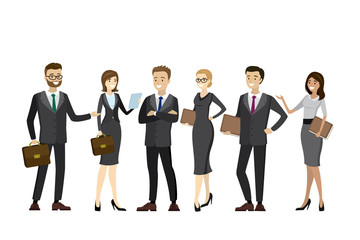 Happy and sucess business people standing