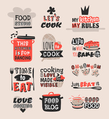 Coocking badge motivation text vector illustration.