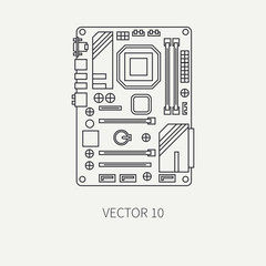 Line flat vector computer part icon motherboard. Cartoon style. Digital gaming and business office pc desktop device. Innovation gadget. Internet. Illustration and element for your design, wallpaper.