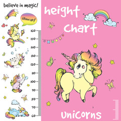 Kids height chart.Hand drawn unicorns