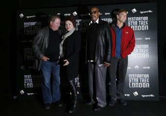 "Shatner, Mulgrew, Brooks and Bakula, who play Star Trek captains, pose for photographers at the ""Destination Star Trek London"" event in London"